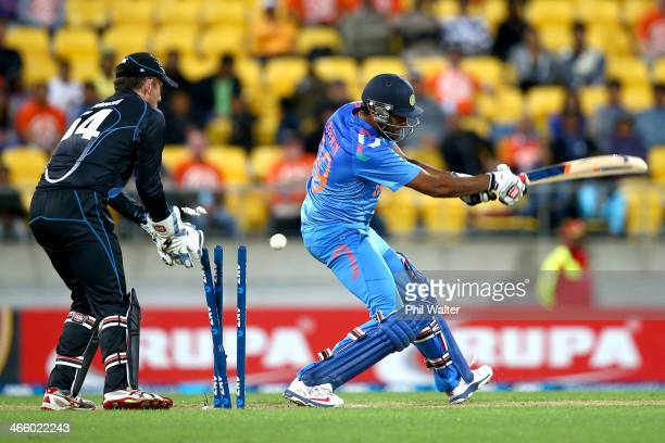 Ravi Ashwin of India is bowled by Kane Williamson of New Zealand during Game 5 of the men's one day international between New Zealand and India at...