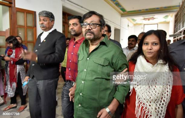 Ravi Belegare Journalist of Hi Bangalore appears at Karnataka Speaker K B Koliwad's office to file review petition against the charges of breach of...