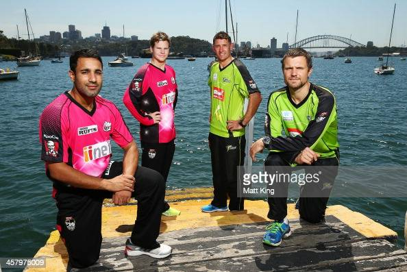 Ravi Bopara and Steve Smith of the Sixers and Mike Hussey and Dirk Nannes of the Thunder pose during a joint Sydney Thunder and Sydney Sixers Big...