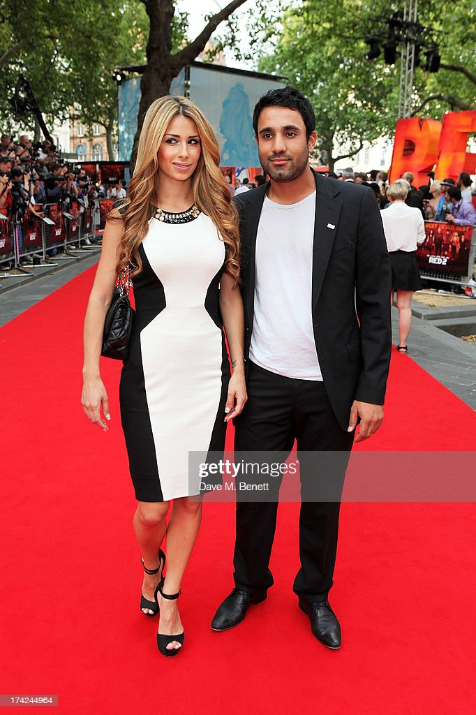 Ravi Bopara (R) attends the European Premiere of 'Red 2' at the Empire Leicester Square on July 22, 2013 in London, England.