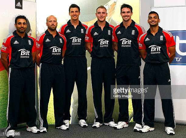 Ravi Bopara Matt Prior Steven Finn Stuart Broad Kevin Pietersen and Ajmal Shahzad launch the new One Day International England Cricket Kit supplied...