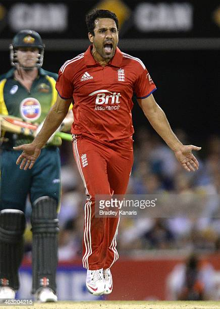 Ravi Bopara of England celebrates after taking the wicket of Mitchell Johnson of Australia during the second game of the One Day International Series...