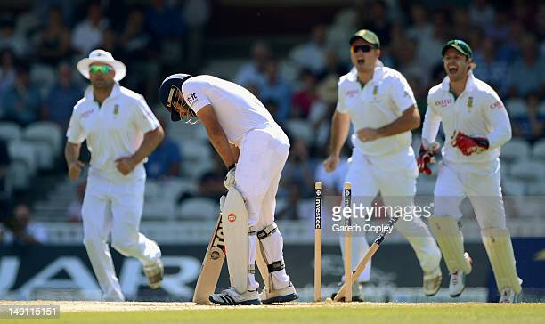 Ravi Bopara of England is bowled by Dale Steyn of South Africa during day five of the 1st Investec Test match between England and South Africa at The...