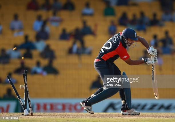 Ravi Bopara of England is bowled out during the Group B ICC World Cup match between England and West Indies at M A Chidambaram Stadium on March 17...