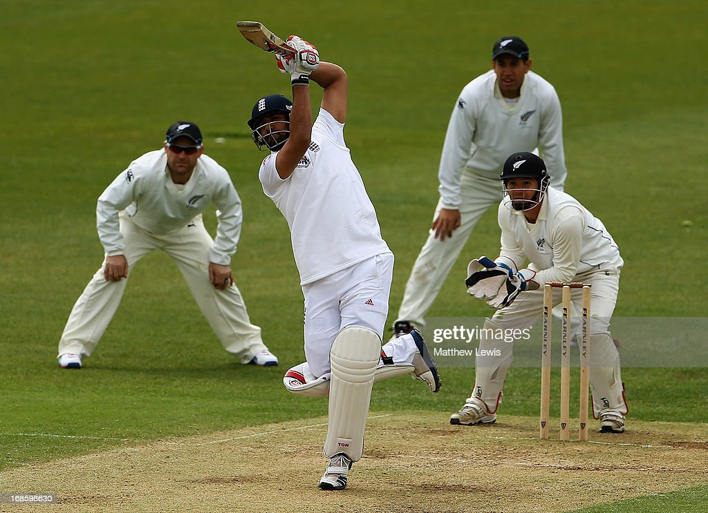 <a gi-track='captionPersonalityLinkClicked' href=/galleries/search?phrase=Ravi+Bopara&family=editorial&specificpeople=4106027 ng-click='$event.stopPropagation()'>Ravi Bopara</a> of England Lions hits a six during day four of the tour match between England Lions and New Zealand at Grace Road on May 12, 2013 in Leicester, England.