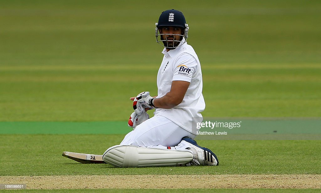 <a gi-track='captionPersonalityLinkClicked' href=/galleries/search?phrase=Ravi+Bopara&family=editorial&specificpeople=4106027 ng-click='$event.stopPropagation()'>Ravi Bopara</a> of England Lions looks on during day four of the tour match between England Lions and New Zealand at Grace Road on May 12, 2013 in Leicester, England.