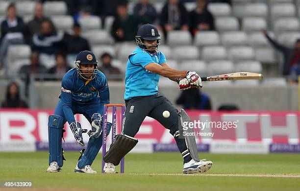 Ravi Bopara of England loses his wicket to Ajantha Mendis of Sri Lanka during the 5th ODI Royal London One Day International at Edgbaston on June 3...