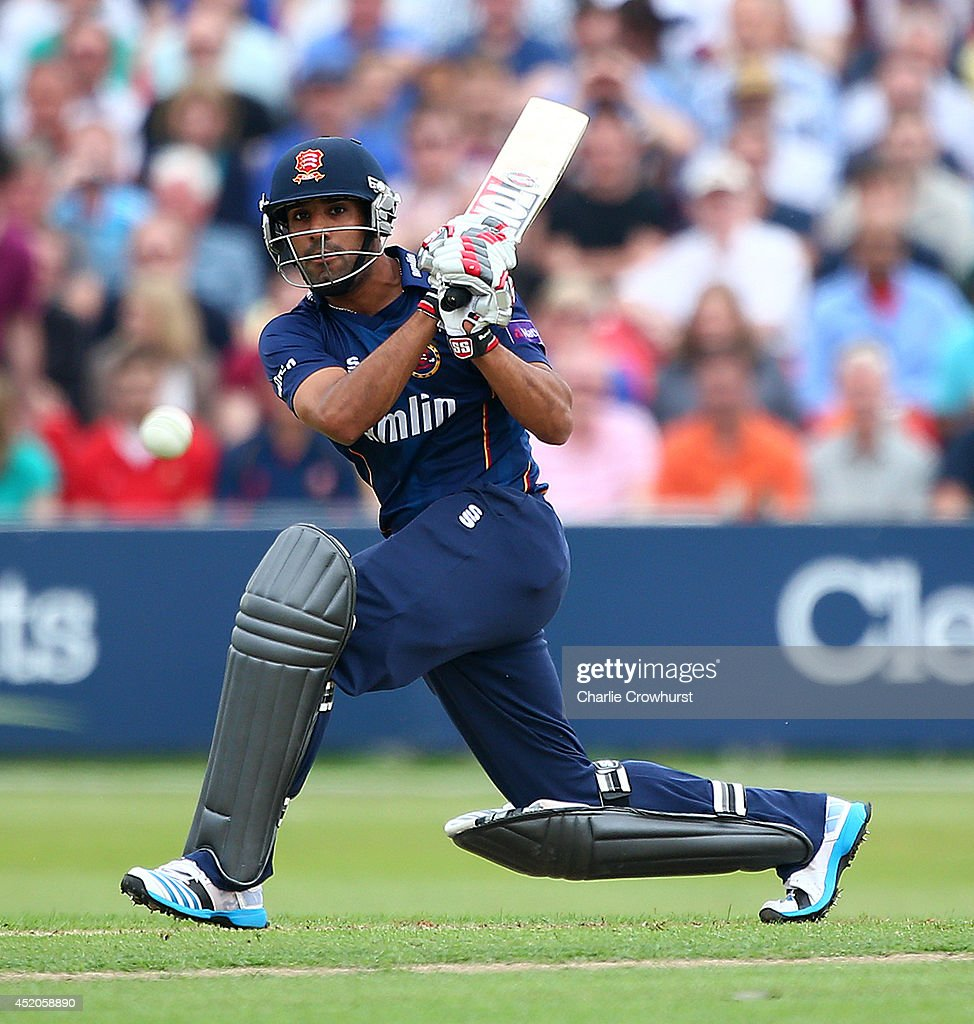 Ravi Bopara of Essex hits out during the Natwest T20 Blast match between Essex Eagles and Kent Spitfires at Castle Park on July 12 2014 in Colchester...