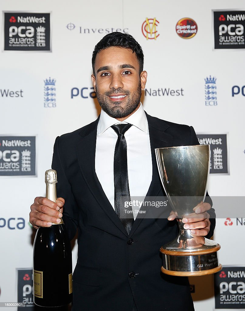 <a gi-track='captionPersonalityLinkClicked' href=/galleries/search?phrase=Ravi+Bopara&family=editorial&specificpeople=4106027 ng-click='$event.stopPropagation()'>Ravi Bopara</a> of Essex poses with the NatWest ODI Player of the Summer Award during the Natwest PCA Awards dinner at The Roundhouse on October 3, 2013 in London, England.