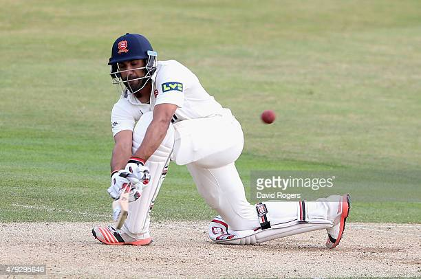 Ravi Bopara of Essex sweeps the ball during day two of the tour match between Essex and Australia at The Ford County Ground on July 2 2015 in...