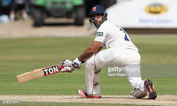 Ravi Bopara of Essex sweeps the ball for four runs during day two of the tour match between Essex and Australia at The Ford County Ground on July 2...