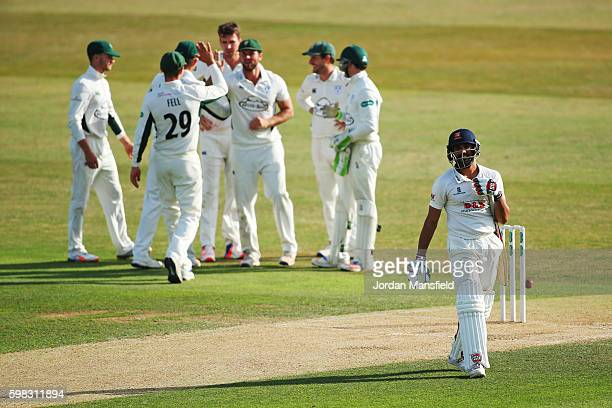 Ravi Bopara of Essex walks off the field after being caught out by Ross Whiteley of Worcestershire bowled Jack Shantry of Worcestershire during day...