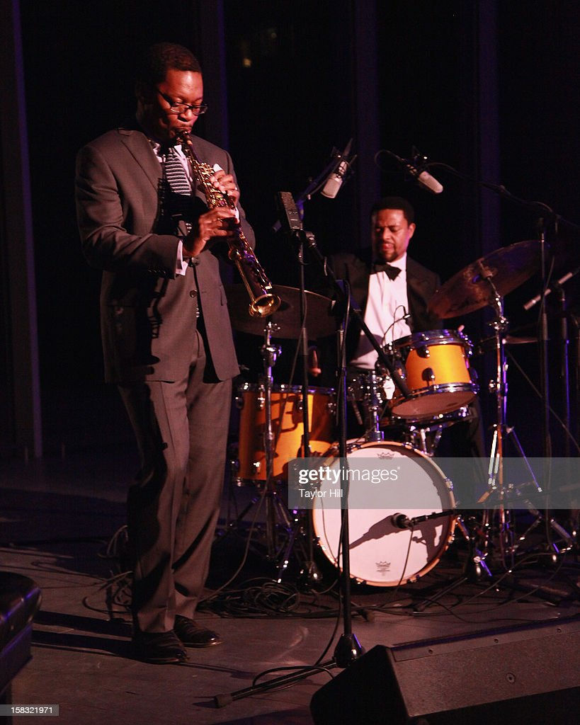 Ravi Coltrane and E.J. Strickland perform at The Museum of Modern Art's Jazz Interlude Gala After Party at MOMA on December 12, 2012 in New York City.