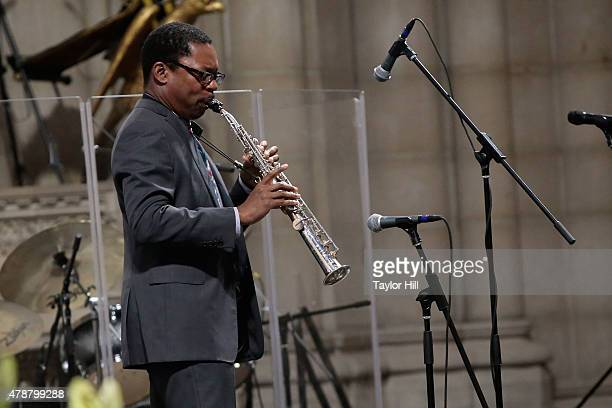 Ravi Coltrane and Geri Allen perform during the Ornette Coleman Funeral Service at Riverside Church on June 27 2015 in New York City