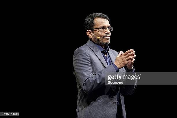 Ravi Menon managing director of the Monetary Authority of Singapore speaks at the Singapore Fintech Conference in Singapore on Wednesday Nov 16 2016...
