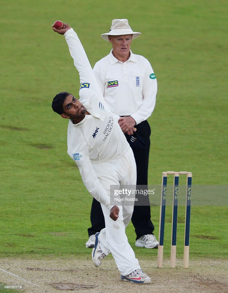 Ravi Patel of Middlesex bowls during The LV County Championship match between Durham and Middlesex at The Riverside on June 2, 2014 in Chester-le-Street, England.