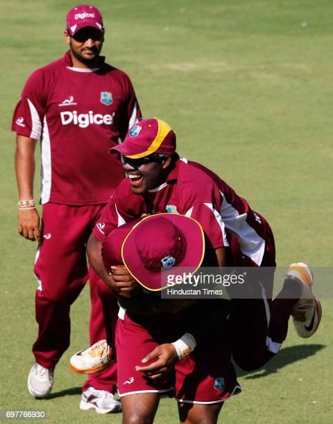 Ravi Rampaul Darren Bravo and Kieron Pollard of West Indies practices at 3rd One day match of Airtel ODI series held at Sardar Patel Gujarat Stadium...