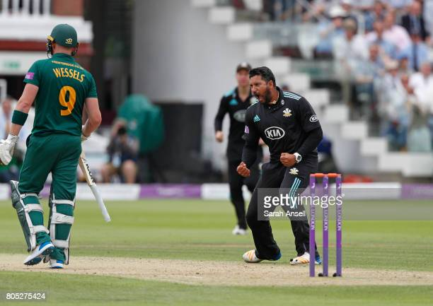Ravi Rampaul of Surrey celebrates after taking the wicket of Nottinghamshire's Riki Wessels during the match between Nottinghamshire and Surrey at...