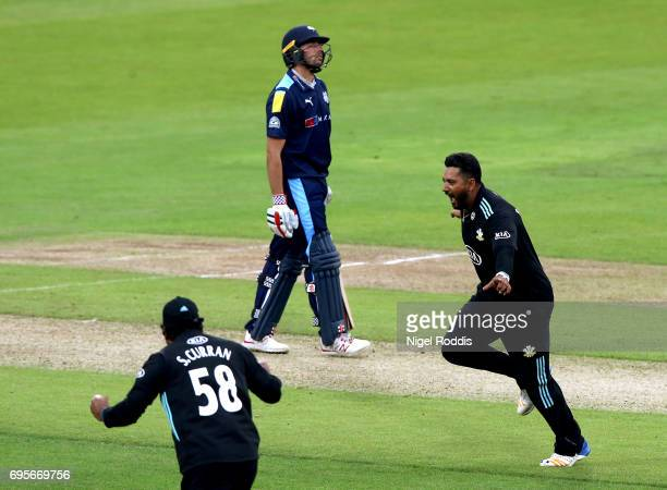 Ravi Rampaul of Surrey celebrates taking the wicket of Jack Leaning of Yorkshire Vikings in action during the Royal London OneDay Cup Play Off...