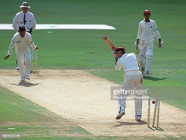 Ravi Rampaul of West Indies Under15s is bowled by Sheharyar Khan of Pakistan Under15s in the Costcutter Under15s Final between West Indies U15 and...