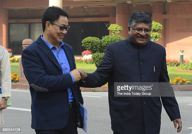 Ravi Shankar Prasad Minister Law and Justice and Ministry of Information Technology and MoS for Home Kiren Rijiju at Parliament House during the...