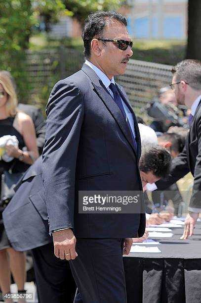 Ravi Shastri arrives ahead of the Funeral Service for Phillip Hughes on December 3 2014 in Macksville Australia Australian cricketer Phillip Hughes...
