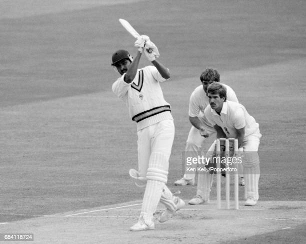 Ravi Shastri batting for India during the 3rd Test match between England and India at Edgbaston Birmingham 5th July 1986 The England fielders are...