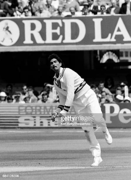 Ravi Shastri bowling for India during the 1st Test match between England and India at Lord's Cricket Ground London 5th June 1986 India won the match...