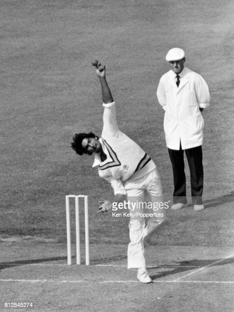 Ravi Shastri bowling for India during the 1st Test match between England and India at Lord's Cricket Ground London 10th June 1982 The umpire is...