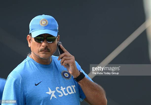 Ravi Shastri during a practice session at Eden Gardens stadium in Kolkata