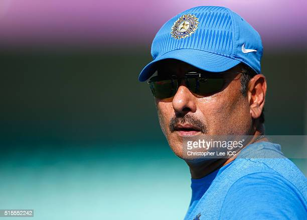 Ravi Shastri of India during the India Training and Press Conference at the Vidarbha Cricket Association Stadium on March 14 2016 in Nagpur India