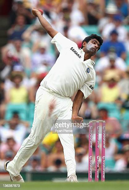 Ravichandran Ashwin of India bowls during day two of the Second Test Match between Australia and India at the Sydney Cricket Ground on January 4 2012...