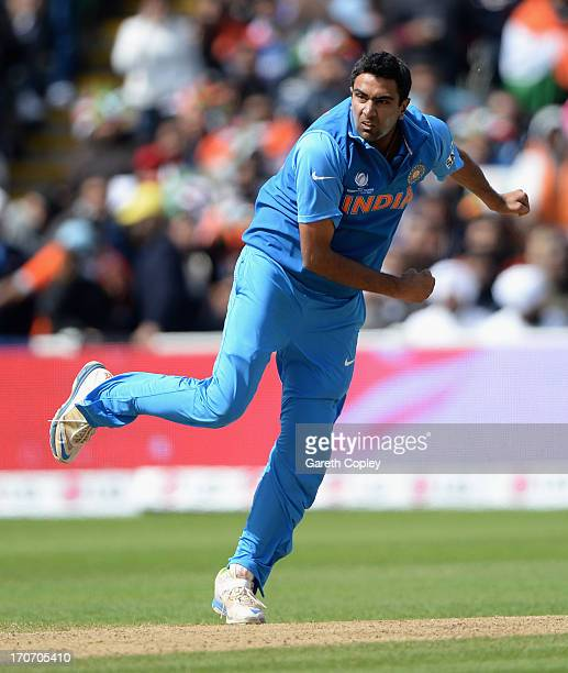 Ravichandran Ashwin of India bowls during the ICC Champions Trophy match between India and Pakiatan at Edgbaston on June 15 2013 in Birmingham England