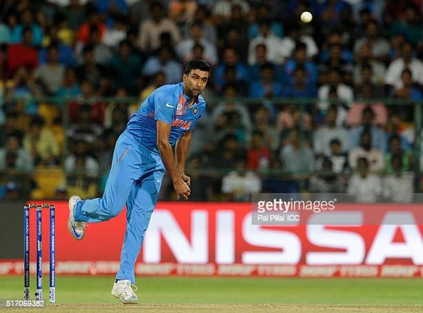 Ravichandran Ashwin of India bowls during the ICC World Twenty20 India 2016 match between India and Bangladesh at the Chinnaswamy stadium on March 23...