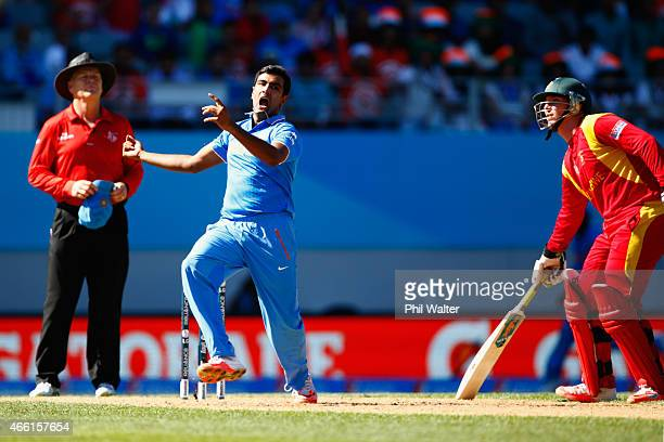Ravichandran Ashwin of India catches out Sean Williams of Zimbabwe during the 2015 ICC Cricket World Cup match between India and Zimbabwe at Eden...