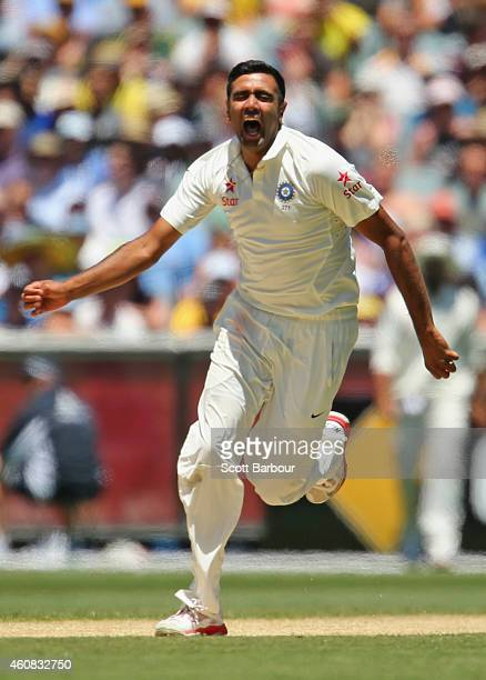 Ravichandran Ashwin of India celebrates after dismissing Shane Watson of Australia during day one of the Third Test match between Australia and India...