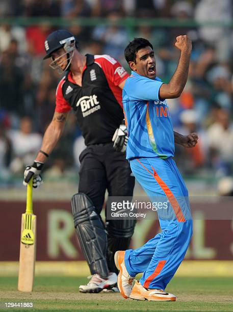 Ravichandran Ashwin of India celebrates dismissing Ravi Bopara of England during the 2nd One Day International between India and England at Feroz...