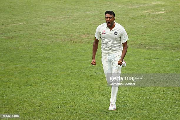 Ravichandran Ashwin of India celebrates dismissing Shane Watson of Australia during day two of the 2nd Test match between Australia and India at The...