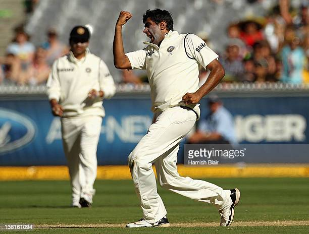 Ravichandran Ashwin of India celebrates the wicket of Nathan Lyon of Australia during day three of the First Test match between Australia and India...