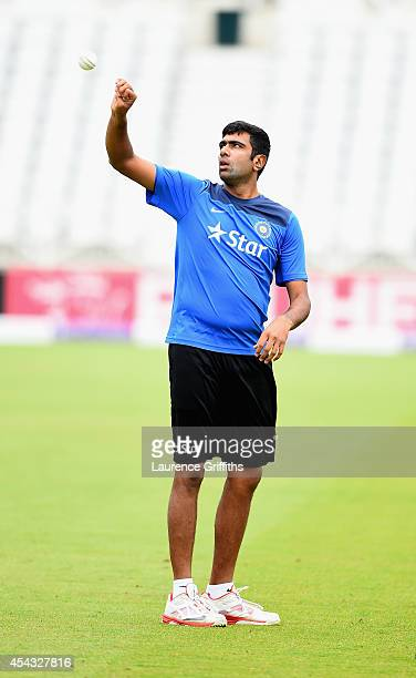 Ravichandran Ashwin of India prepares to bowl during net practice at Trent Bridge on August 29 2014 in Nottingham England