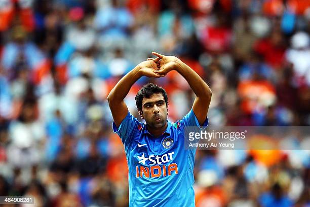 Ravichandran Ashwin of India reacts during the One Day International match between New Zealand and India at Eden Park on January 25 2014 in Auckland...
