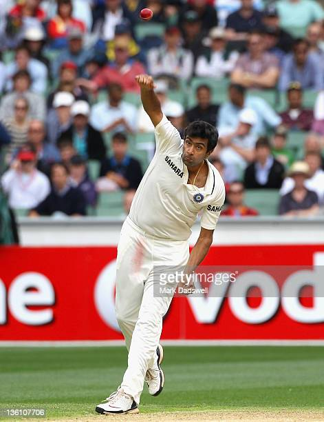 Ravichandran Ashwin of India sends down a delivery during day one of the First Test match between Australia and India at Melbourne Cricket Ground on...
