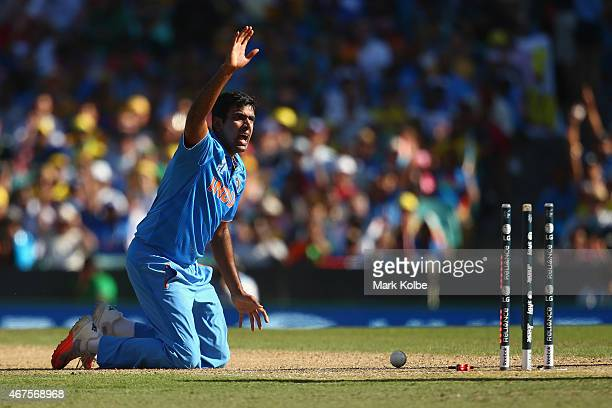 Ravichandran Ashwin of India unsuccessfully appeals for the run out of Aaron Finch of Australia during the 2015 Cricket World Cup Semi Final match...