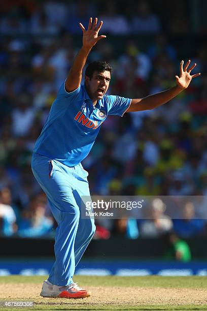 Ravichandran Ashwin of India unsuccessfully appeals for the wicket of Aaron Finch of Australia during the 2015 Cricket World Cup Semi Final match...