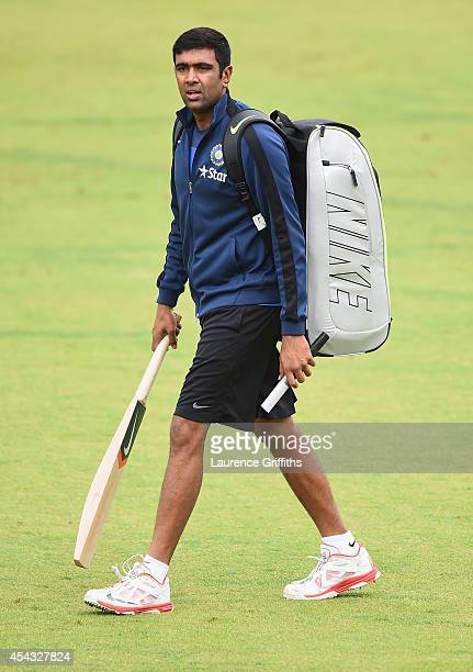 Ravichandran Ashwin of India walks out for net practice at Trent Bridge on August 29 2014 in Nottingham England