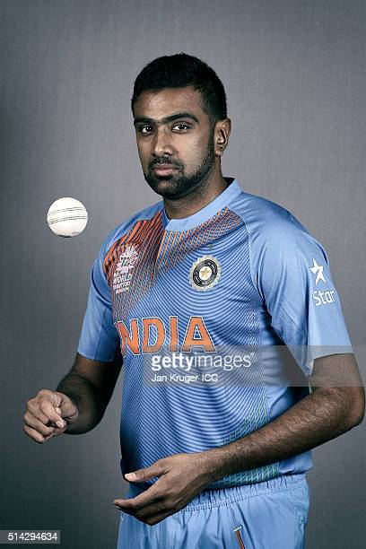 Ravichandran Ashwin poses during the India Headshots session ahead of the ICC Twenty20 World Cup on March 8 2016 in Kolkata India