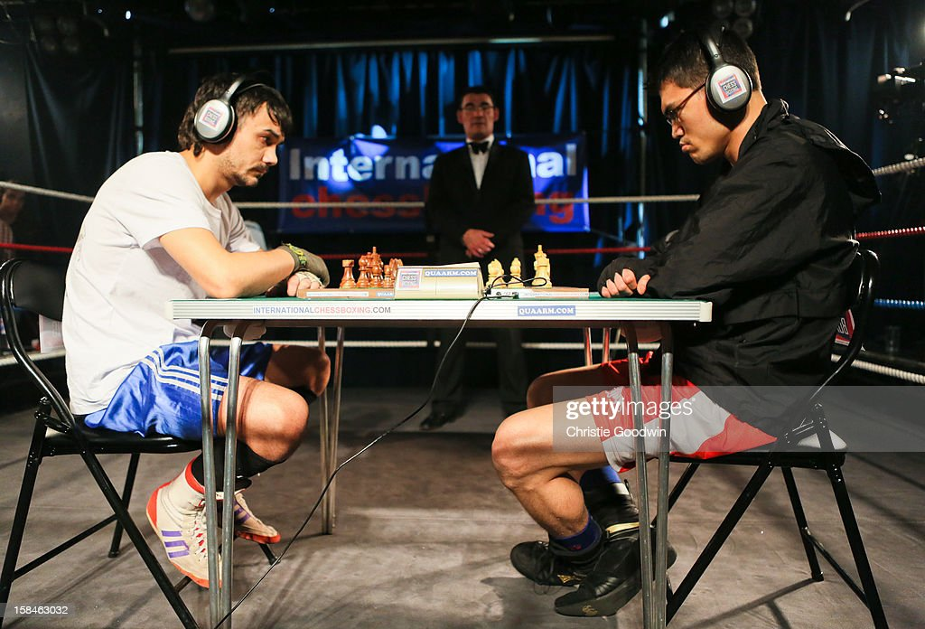 Ravil Galiakhmetov and Jose Sanchez in the ring during the Chessboxing 2012 Season Finale at Scala on December 8, 2012 in London, England.