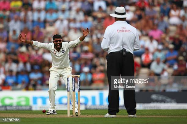 Ravindra Jadeja of India appeals to umpire Marais Erasmus during day one of the 3rd Investec Test match between England and India at the Ageas Bowl...