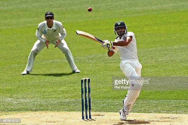 Ravindra Jadeja of India bats during day three of the First Test match between New Zealand and India at Eden Park on February 8 2014 in Auckland New...
