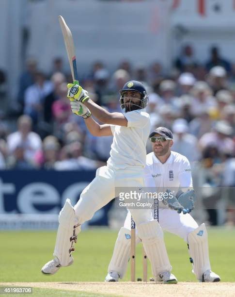 Ravindra Jadeja of India bats during day two of 1st Investec Test match between England and India at Trent Bridge on July 10 2014 in Nottingham...
